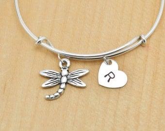 Dragonfly Bangle, Sterling Silver Bangle, Dragonfly Bracelet, Bridesmaid Gift, Personalized Bracelet, Charm Bangle, Initial Bracelet