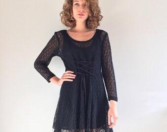 Vintage 70's Black Mini Lace Corset Dress S