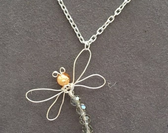Dragonfly necklace, Wire wrapped dragonfly, handmade insect necklace, dragonfly jewelry, wire wrapped dragonfly