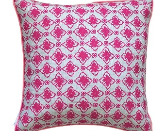 Neon Magenta Flora linen cushion cover