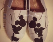 "SIZE 7 - ""Kissing Mickey & Minnie"" Canvas Toms Shoes"