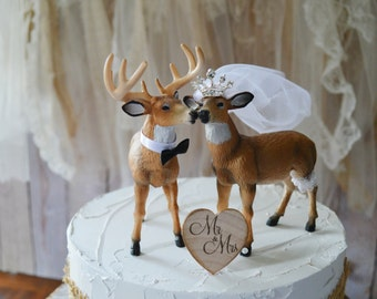 Buck and doe-bride and groom-wedding-cake topper-rustic-deer-hunter-hunting-groom-princess-ivory-veil-white tail-wild life-nature