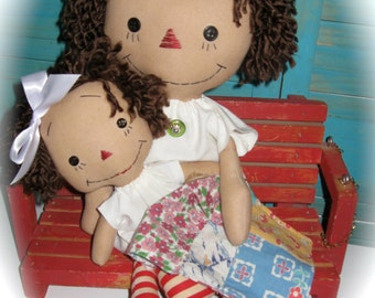Primitive Raggedy Mother-Daughter Ann Annie Doll SET and Vintage Doll Quilt OOAK