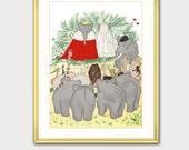 "Elephant Nursery Art w/Mat, Babar the Elephant (Fun Wedding Gifts, Playroom Decor) Matted Babar Print --- ""Babar and Celeste"""