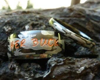 camo wedding rings matching camo set camo wedding bands his her matching - His And Her Camo Wedding Rings