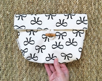 Bow Pouch - Cosmetics Bag - Purse Pouch - Small Clutch - Cotton Canvas Shell and Lining - Toggle & Loop Front Flap Closure - Gift For Her