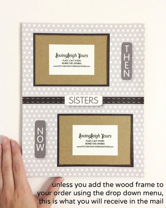 8x10 then and now sisters frame mat holds two 35x5 horizontal photos