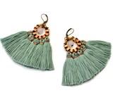 Tassel Earrings, Jade Green Fringe Earrings, Hippie Earrings, Bohemian Chandeliers, Pink Earrings, Folk Earrings