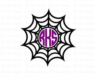 Spider Web Monogram SVG, Halloween Monogram Frames, Halloween SVG, Cricut Cut Files, Silhouette Cut Files