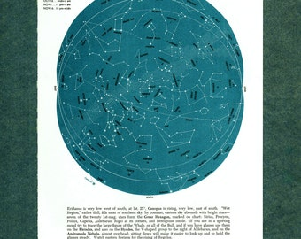1960 star map astronomy star atlas map 12 original ANDROMEDA WHALE CANOPUS vintage zodiac chart map of stars constellation stargazing