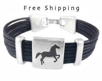 Custom mens leather bracelet, Horse bracelet, Horse leather bracelet, Horse jewelry, Anniversary gifts, Womens leather bracelet, Quality