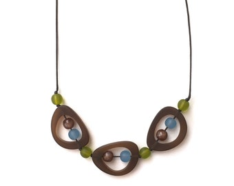 Nursing Necklace - Choker/ Mid Length Adjustable Resin Necklace - Troika - Brown, Blue, Olive Green