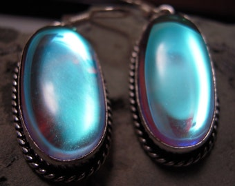 HOLIDAY SALE...Pearl Satin Rainbow Mystic Topaz Earrings From France...Set In 925 Sterling Silver