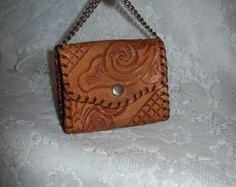 Vintage 1960s Hand Tooled Leather Coin Purse w/ Hang Chain Only 10 USD