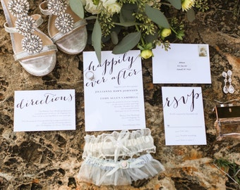 Wedding Invitation, Printable Wedding Invitation, Happily Ever After, Calligraphy Wedding Invitation, DIY Wedding Invitation - #S5
