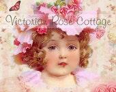 Victorian Rose Girl Pink Bonnet Fabric Block - Art Print