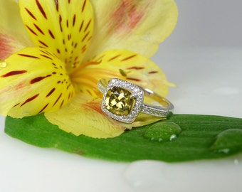 Yellow Engagement Ring, Canary Yellow Ring, Natural Zircon Ring, Gemstone Halo Ring, Zircon Ring, Halo Ring, Halo Sterling Ring,