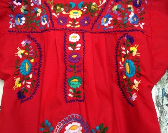 Vintage Embroidered Mexican Children's Dress