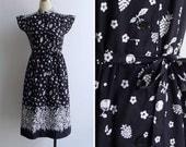 Vintage 80's 'Fruitful Harvest' Mandarin Collar Dress S