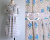 Vintage 70's 'Blue Rose Beauty' Blouson Day Dress with Belt XS or S