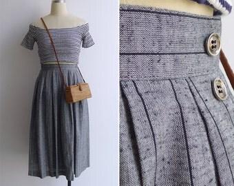 Vintage 80's Heather Grey & Black Pinstripe Full Skirt XXS