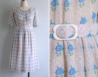 15% SALE (Code In Shop) - Vintage 70's 'Blue Rose Beauty' Blouson Day Dress with Belt XS or S