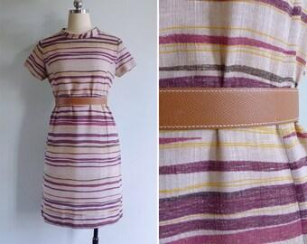 Vintage 70's 'Berry Stripes' Mod Turtleneck Shift Dress S or M