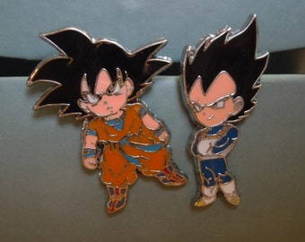 Dragonball Z Enamal Pins Goku Vegeta Pins, Anime Pins, Choice of Normal or Super Saiyan