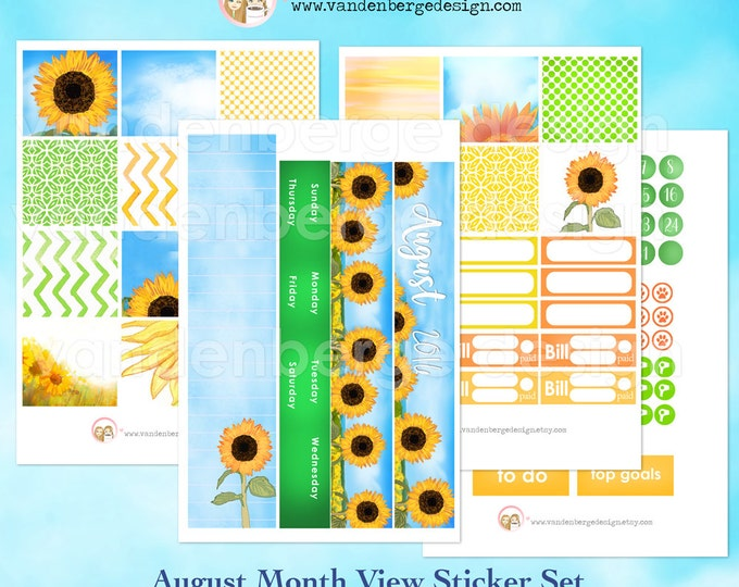 August Month View Kit for Erin Condren Life Planner or The MAMBI Happy Planners