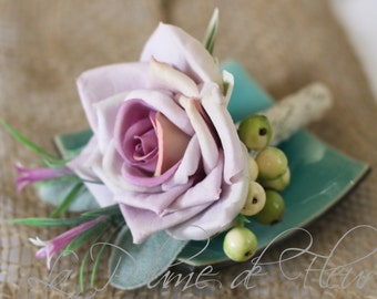 Clarke - Men's Buttonhole / Boutonniere - Rustic, country Garden style buttonhole, lilac rose, wildflowers and berries.