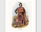 Buchanan Family Wall Art w/Mat, Traditional Tartan Kilt, Highland Dress, Scottish Gift No. 26