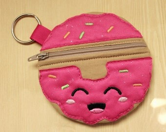 Frosted Donut zipper bag, Donut with pink glitter frosting change purse, Donut zipper pouch, Donut themed zipper bag, Donut zipper bag