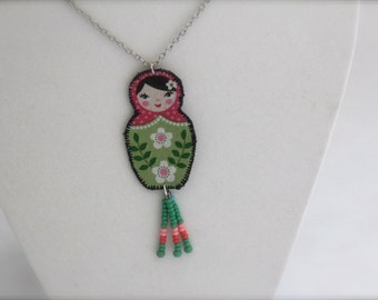 Russian doll necklace, unique statement jewelry