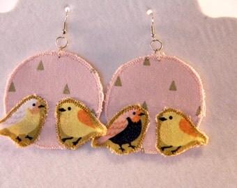 Pink and Yellow love bird earrings, large lightweight bird earrings, lovebird jewelry, kitsch bird earrings, boho bird, fabric jewelry