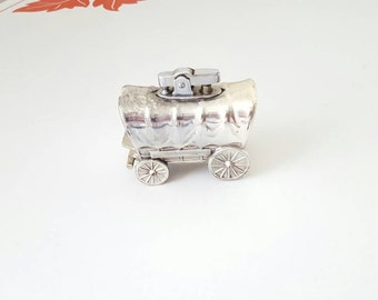 Fun and Quirky Vintage Silver Lighter Covered Wagon