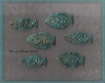 Turquoise with green pale ceramic fish - buttons or tiles with Celtic pattern  - 3 pieces - 3.5 cm long