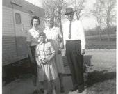 "Vintage Snapshot - ""Her First Camera"" - Kodak Brownie - Grandparents  -Found Vernacular Photo - House Trailer"