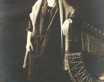 Vintage Photo Lovely Woman Velvet Dress Studio Portrait Shawl Wrap Vintage Jewelry Real Photo Postcard RPPC