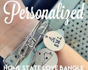 Create and Personalize Your Own Hand Stamped Home State Love Charm and Bangle Bracelet from the Home State Love Collection