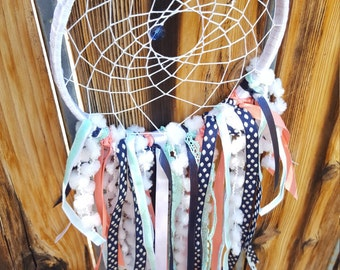 Dream catcher- navy coral and mint - chic woodland baby room party decor -gift idea- tapestry mobile
