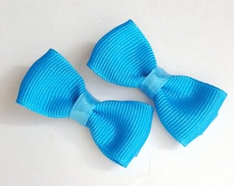 2 small turquoise pigtail hair bows--mini tuxedo bow tie accessories for baby toddler big girls- bright spring summer colors