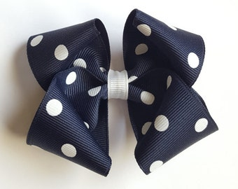 Dark Navy and white polka dot hair bow--school uniform --nautical sailor party favors-- 3.5 inch large hair bows
