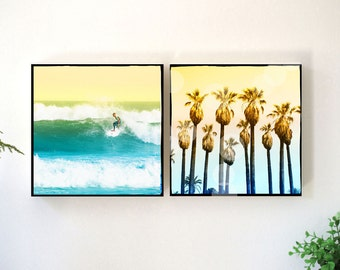 Surfing Wall Art, Palm Trees Photography Set, Surfer Art, Surfing Photography, California Beach Wall Art Set, Wood Block, Retro Beach Decor