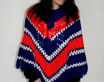 vintage Poncho 1970s 1960s Crochet Red White and Blue Fringe