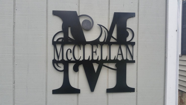 Family Name Sign22 Metal Monogram Door Hanger By