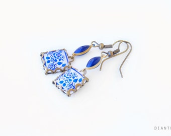 Porto. Vintage patterned earrings Tile earrings with art nouveau style  Blue, white and red tones.