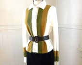 1970s Knit Cardigan / 1970s Olive Gold Ivory Striped Sweater Collar / Medium / Long Sleeves Button Front / Retro Vintage Hipster Clothing