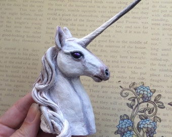 Unicorn MADE TO ORDER Ooak polymer clay bust sculpture Art doll Miniature fantasy animal figurine Handmade figure Totem White horse