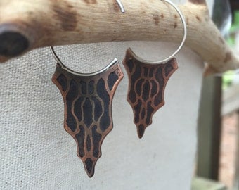 Etched AbstractCopper Earrings