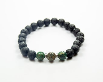 PMS-relief - Stress and Anxiety relief - Chrysocolla & Lava bracelet - Essential Oil diffuser bracelet